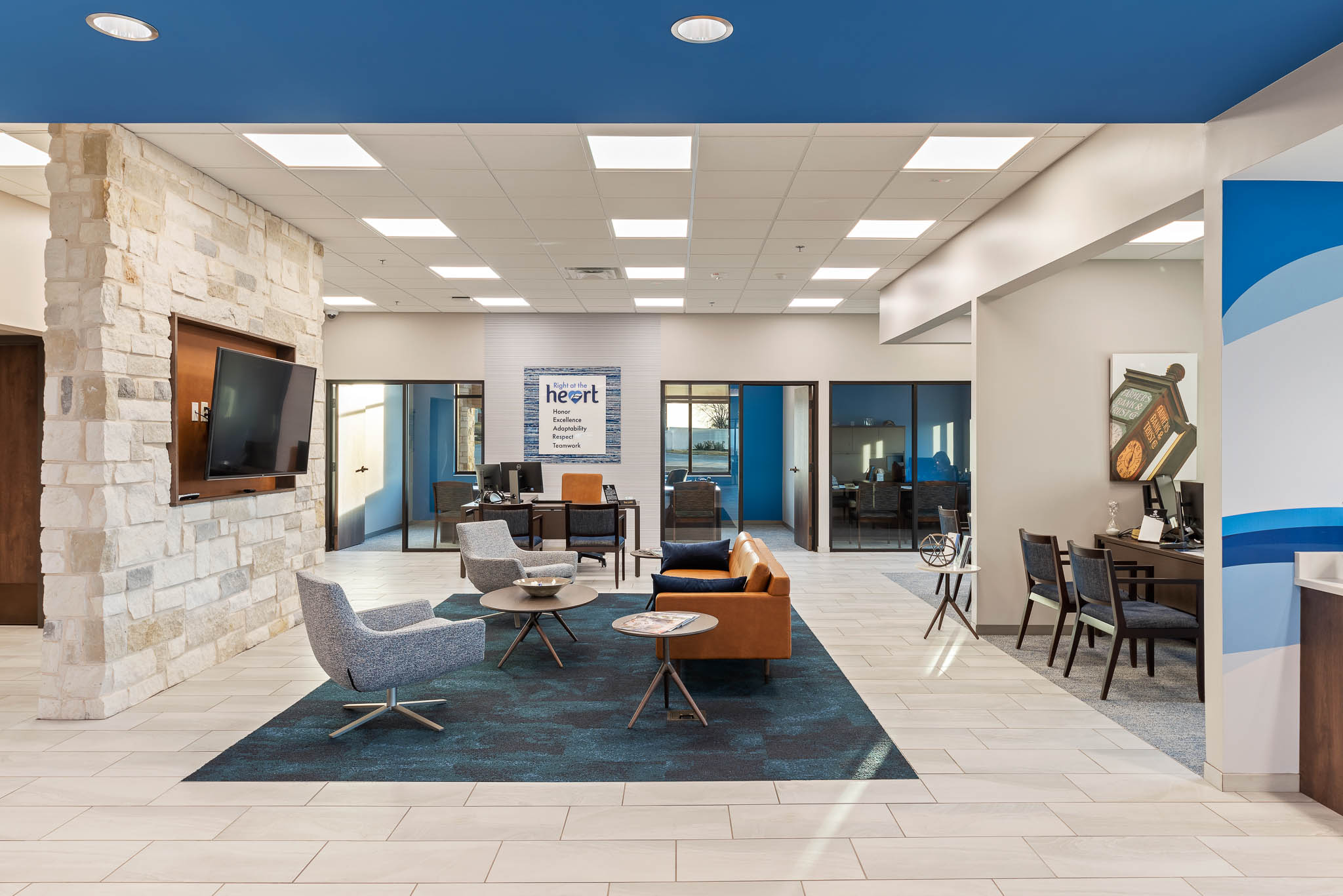 Interior of bank for commercial photography