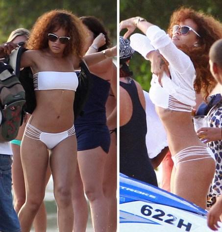 rihanna white bikini