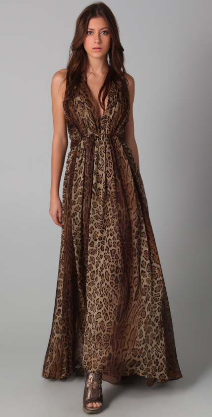 tiger print leopard print maxi dress