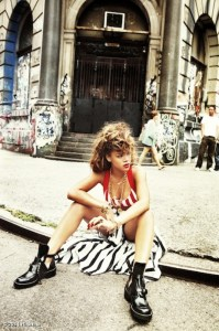 rihanna sitting on pavement