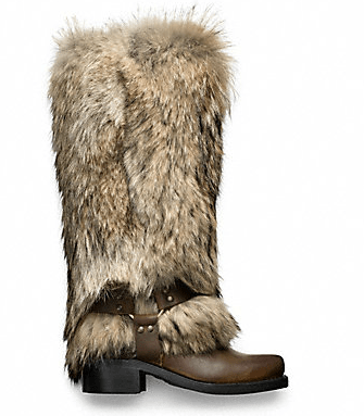 coach fur coyote boots