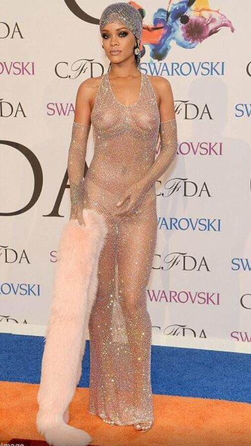 rihanna nude dress