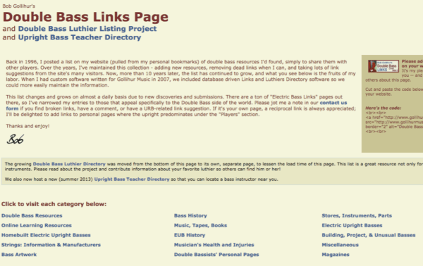 double bass links page
