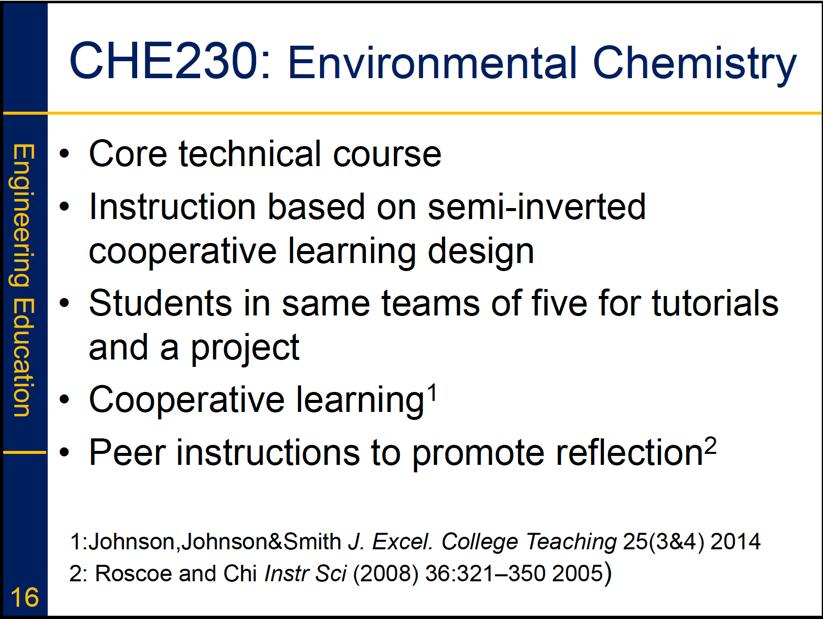 Greg Evans CHE230 Environment Chemistry