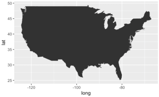 Simple practice  basic maps with the Tidyverse   R bloggers INSTALL PACKAGE  tidyverse library tidyverse    MAP USA map data  usa        ggplot aes x   long  y   lat  group   group     geom polygon