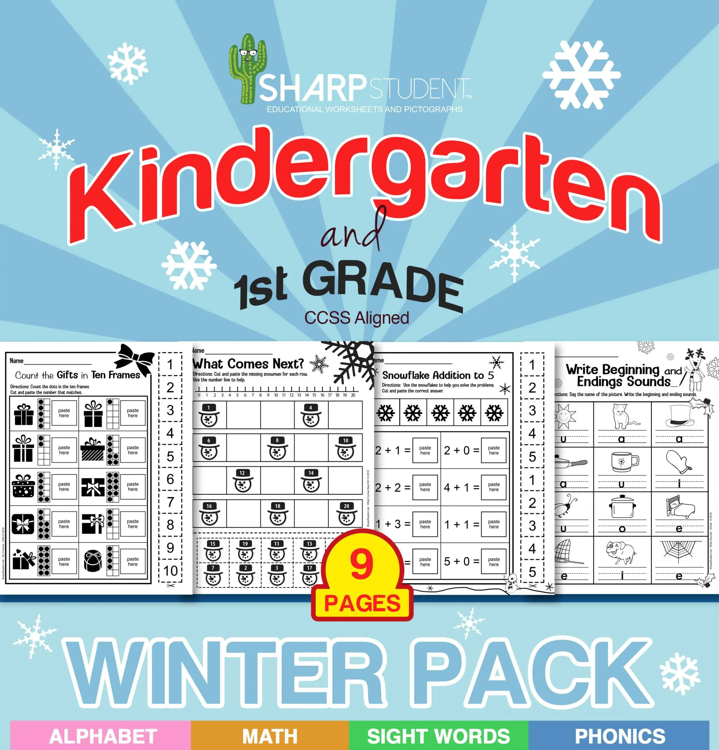 Kinder & 1st Grade Winter Worksheet Packet – 9 Pages