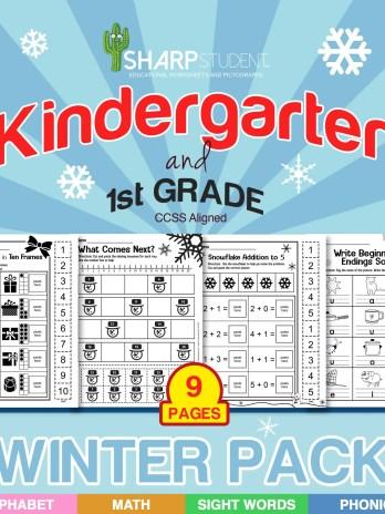 Kinder, 1st Grade Winter Christmas Holiday Worksheet Packet (READING & MATH Bundle) (DOWNLOAD)