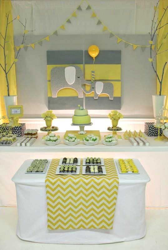 Best Yellow Gray Chevron Baby Shower Ideas Elephant Theme This Month
