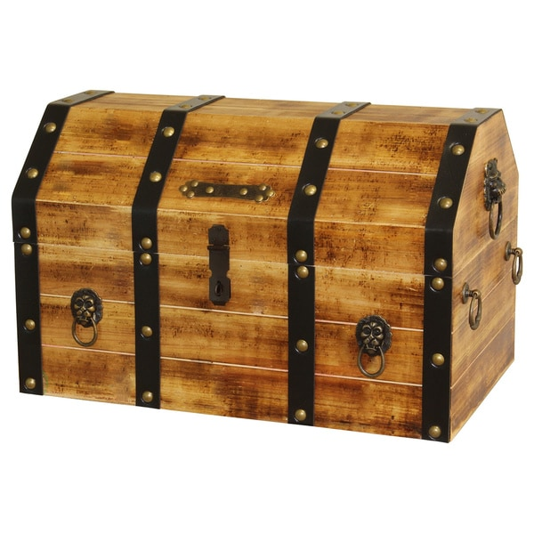Best Large Wooden Pirate Lockable Trunk With Lion Rings This Month
