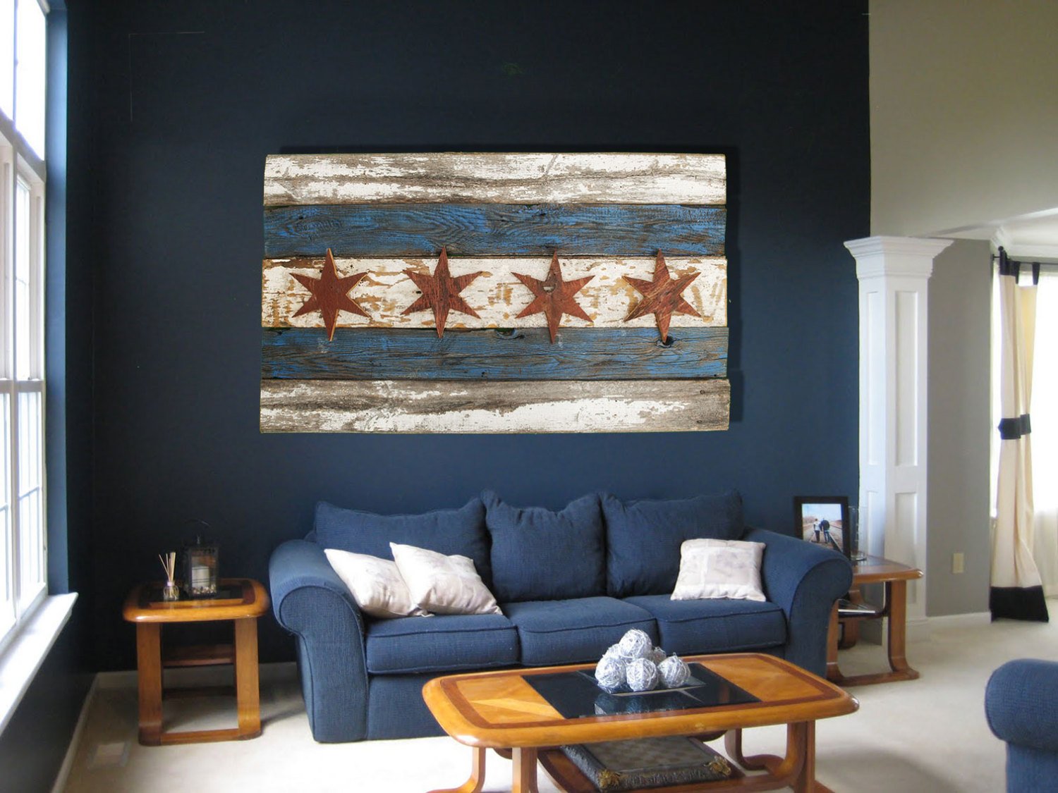 Best Handmade Recycled Barn Wood Chicago Flag Vintage Art This Month