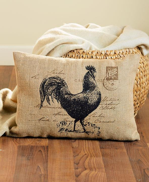 Best Large Vintage Rustic Burlap Country Rooster Decorative This Month