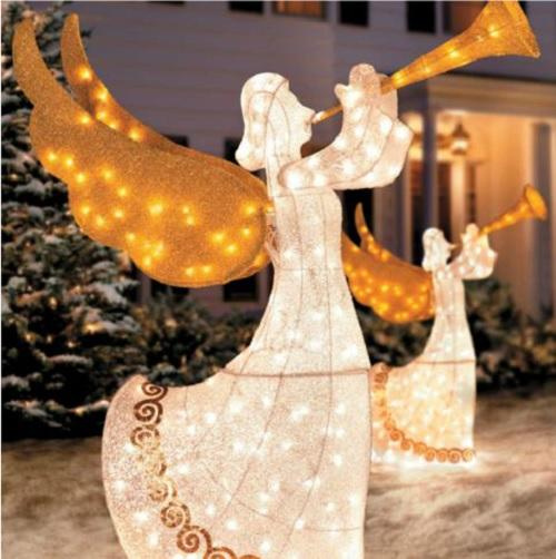Best Set 2 Outdoor Animated Lighted Christmas Trumpeting Angels This Month Original 1024 x 768