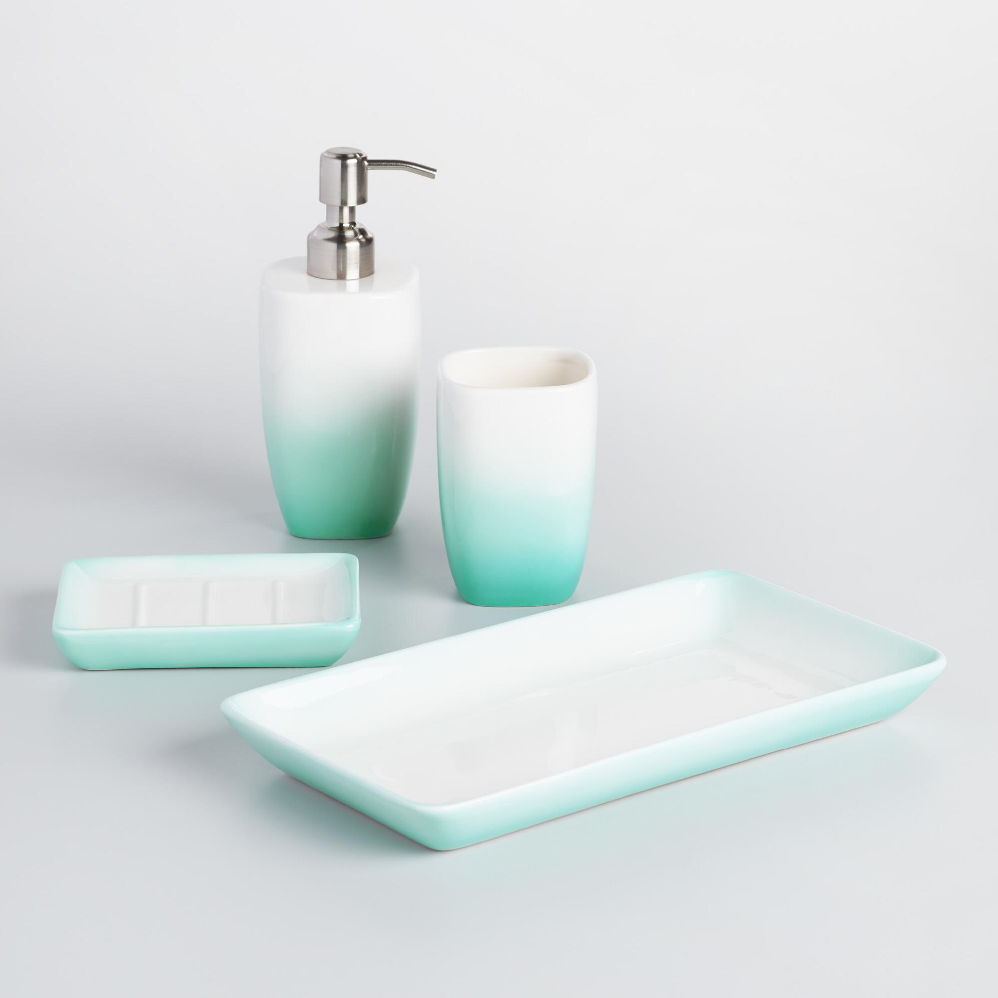 Best Aqua Ombre Ceramic Bath Accessories Collection World Market This Month