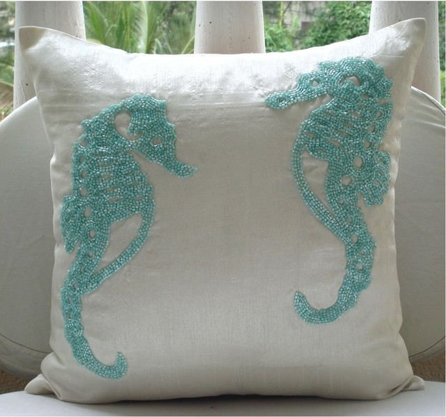 Best Sea Horse Decorative Pillow Cover Aqua Tropical This Month