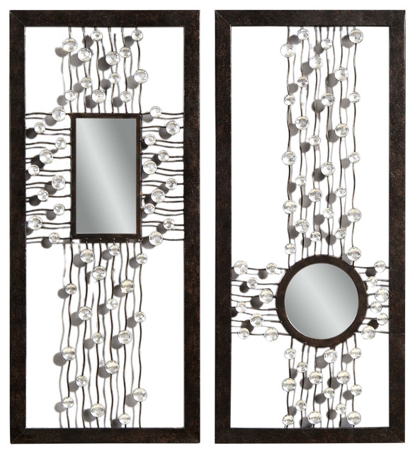 Best Bronze Decorative Rectangle Wall Mirrors Pair Modern This Month