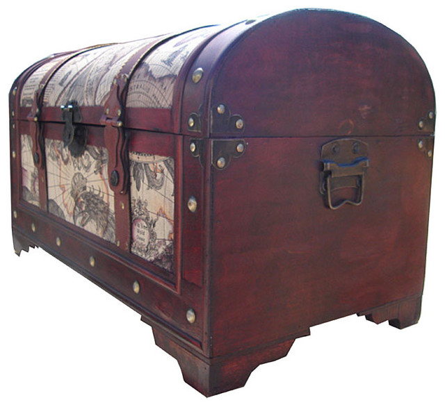 Best World Map Decorative Wooden Storage Trunk Traditional This Month
