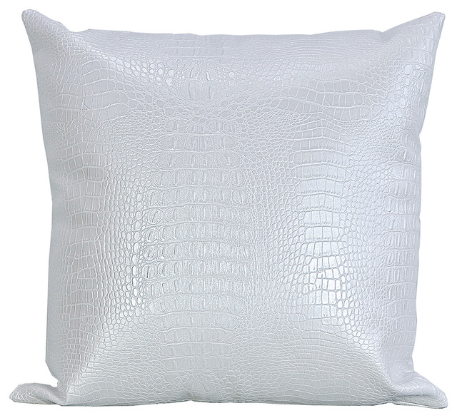 Best Croc Faux Leather Decorative Throw Pillow White 10X16 This Month