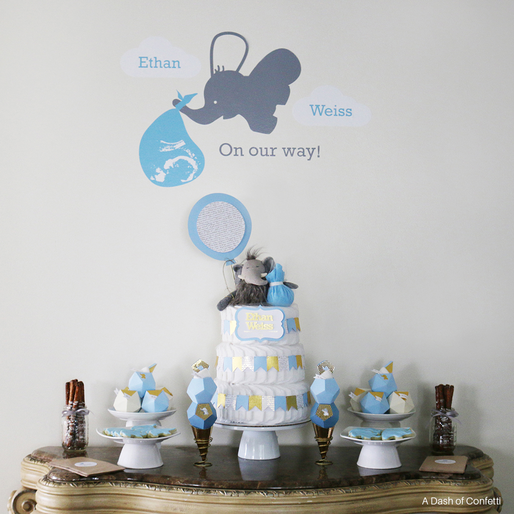 Best Geometric Blue Gold Elephant Baby Shower This Month