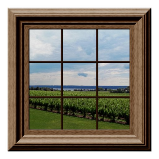 Best Faux Window Poster Vineyard Scene Wall Art Poster Zazzle This Month