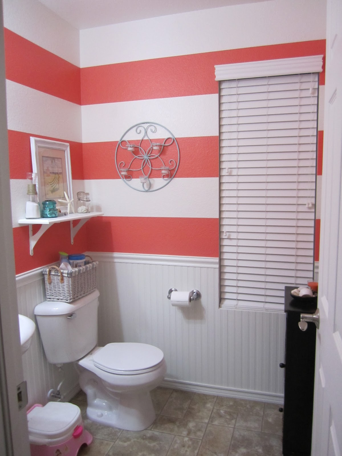 Best Just Another Day In Paradise Coral Striped Bathroom This Month