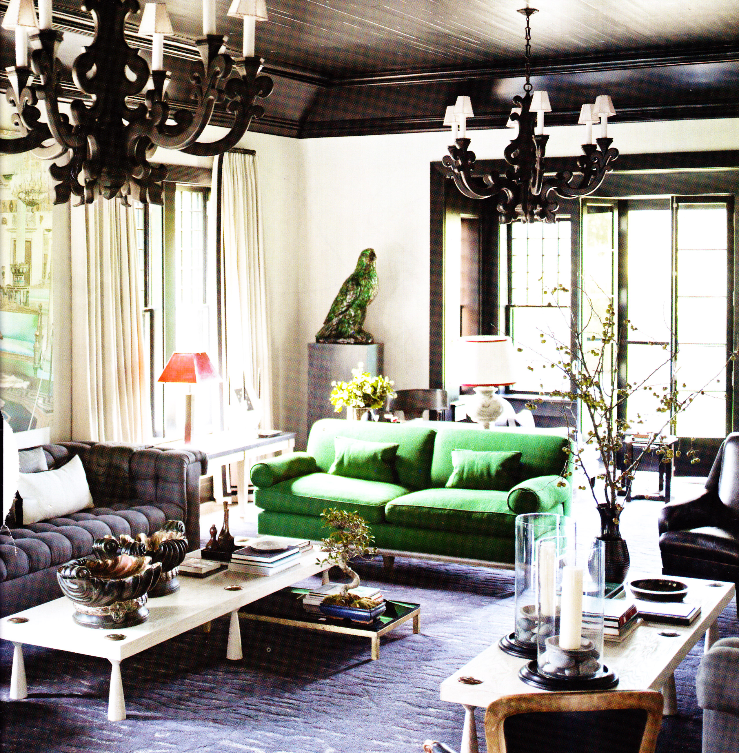 Best Black Ceiling Black Ornate Pendents Green Sofa Living Room This Month
