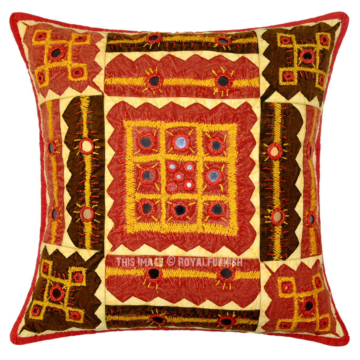 Best Red Indian Mirror Embroidered Decorative Accent Cotton This Month