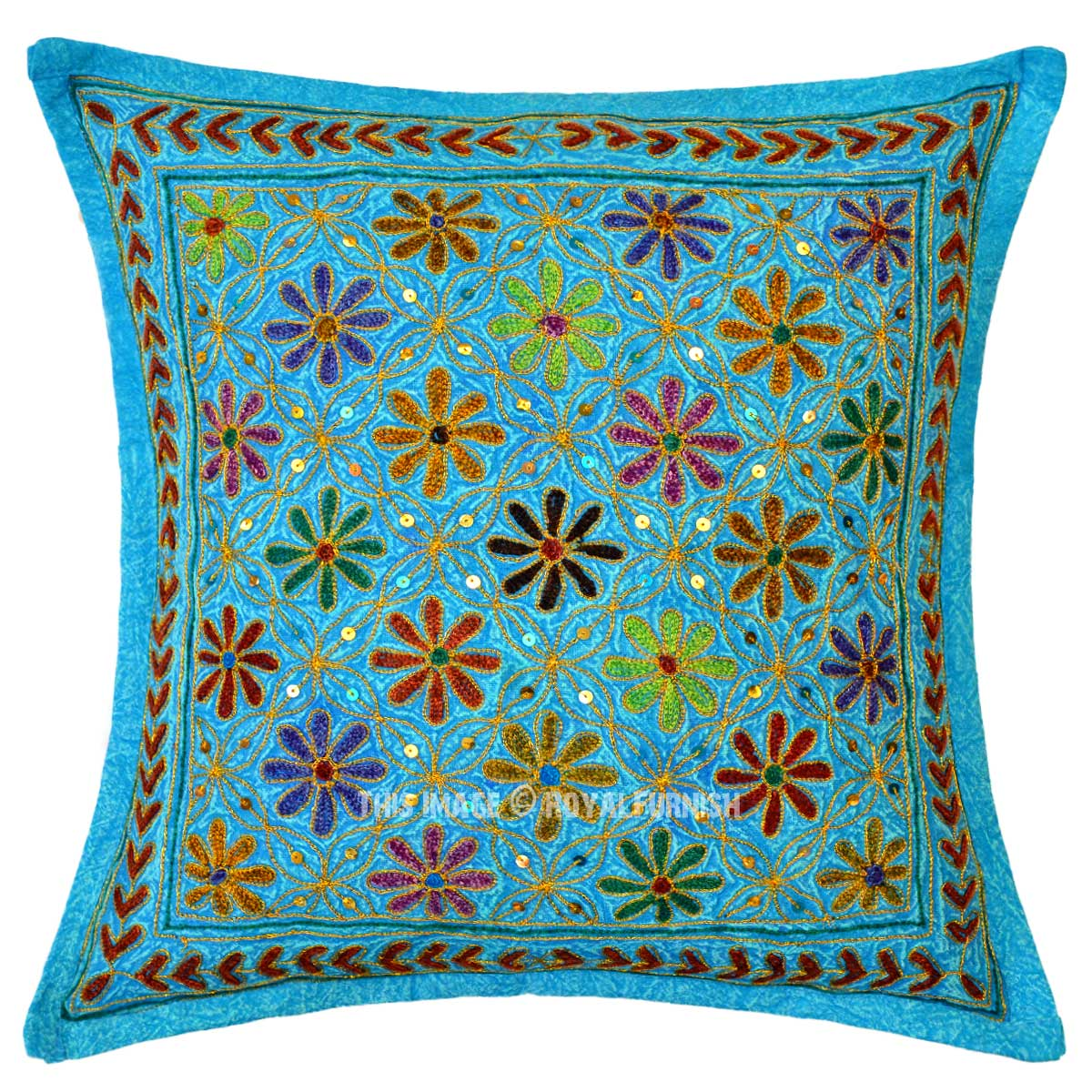 Best Turquoise Blue Decorative Needlepoint Embroidered Cotton This Month