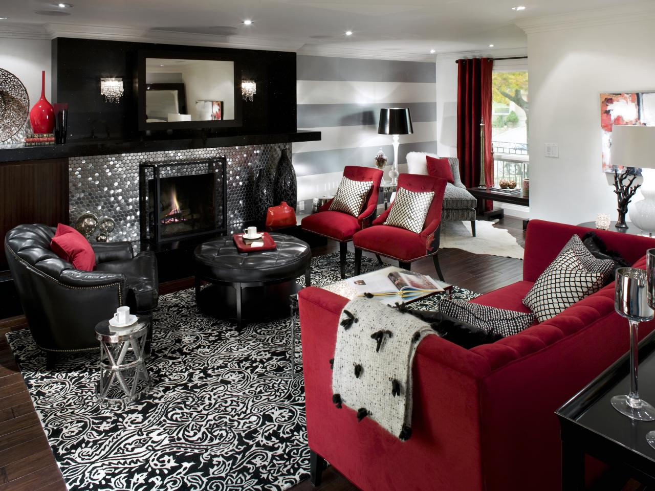 Best Retro Red Black And White Family Room Hgtv This Month