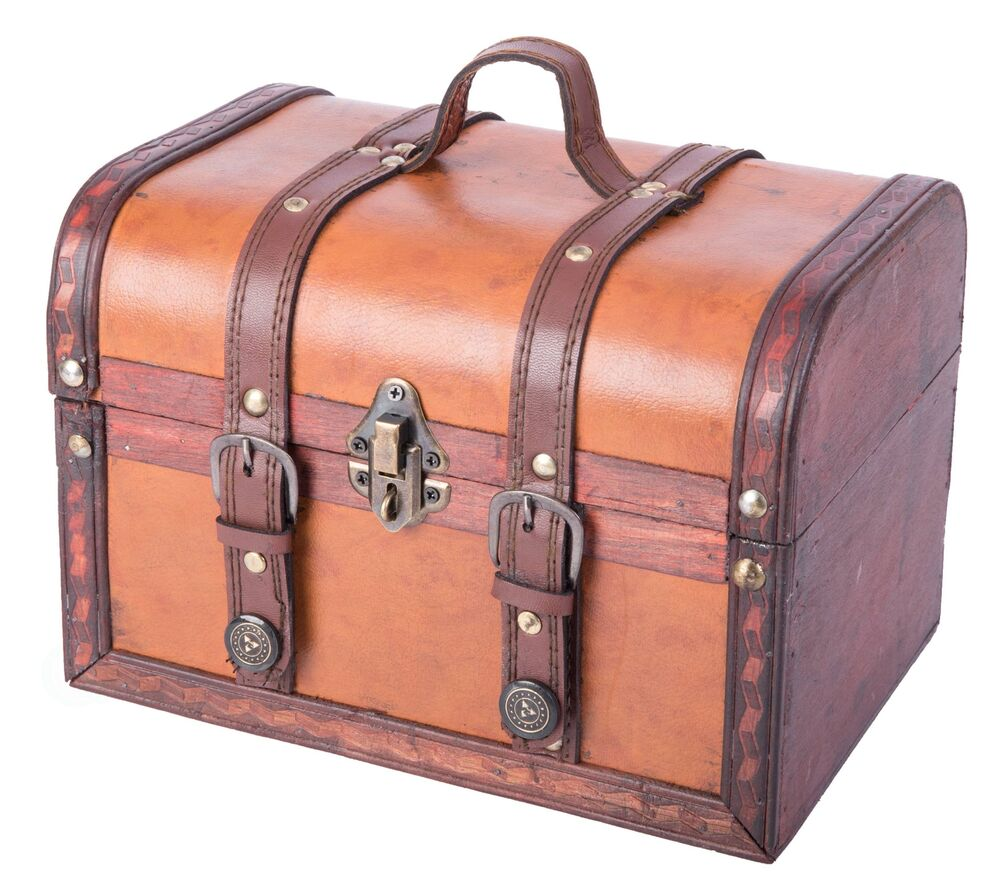 Best Decorative Wood Leather Treasure Box Small Trunk Chest This Month