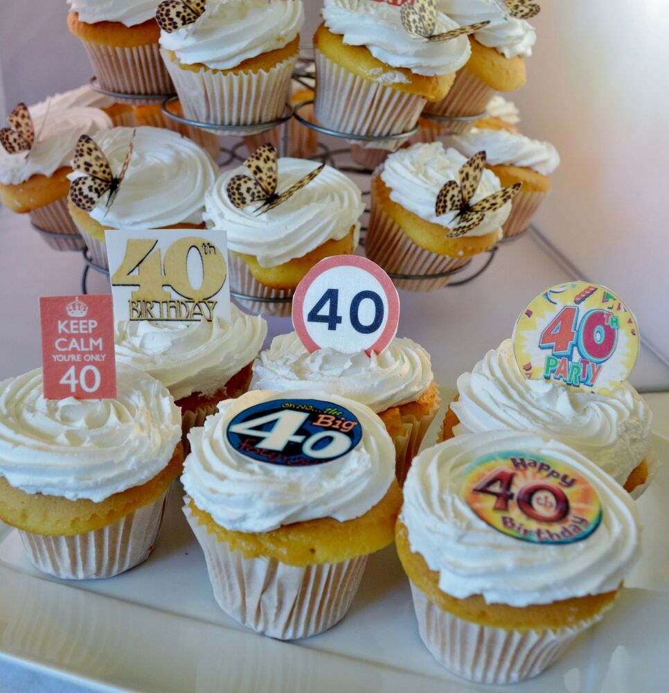 Best 40Th Birthday Party Edible Cupcake Toppers Cake This Month