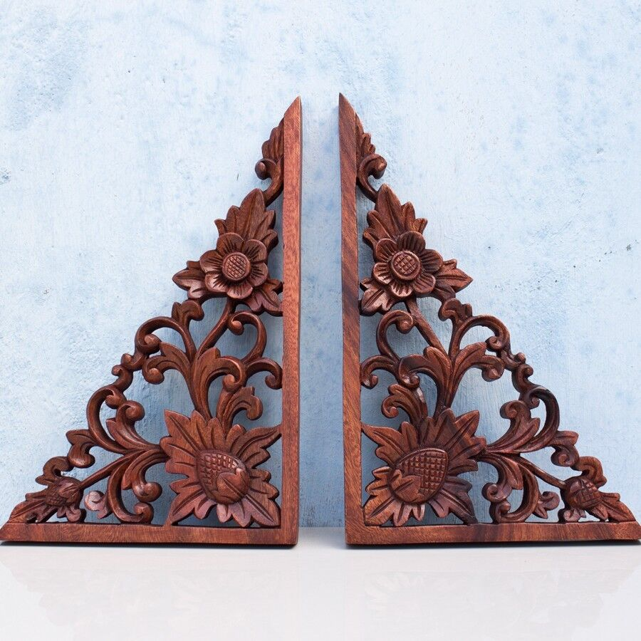 Best Balinese Corners Lotus Flower Wooden Wall Panel Headboard This Month