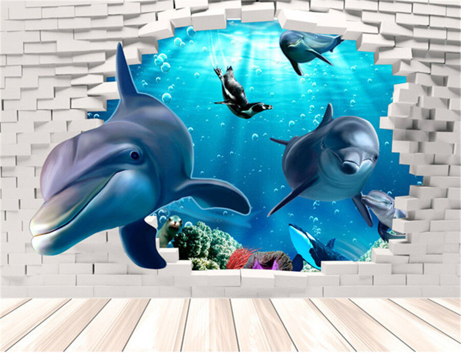 Best Dolphin 3D Wall Mural Removable Wall Sticker Art Vinyl This Month