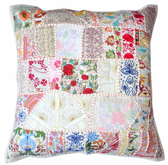 Best 24X24 X Large White Indian Patchwork Pillow Decorative This Month