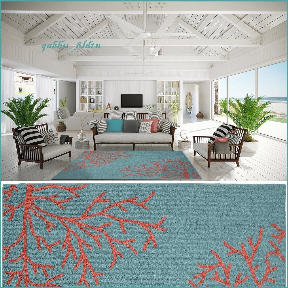Best Tropical Coral Teal Area Rug Carpet Coastal Beach Ocean This Month