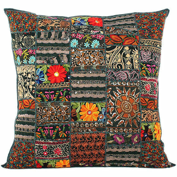 Best 24X24 Black Bohemian Pillow Indian Patchwork Cushion Cover This Month