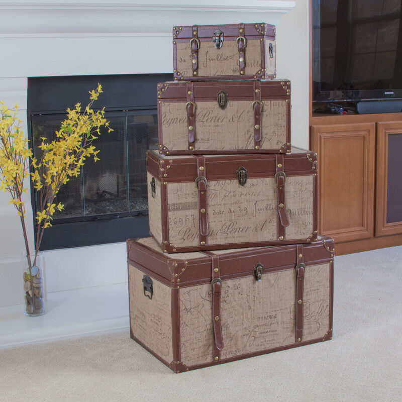 Best Set Of 4 Stacking Home Decor Storage Trunks Chests W This Month