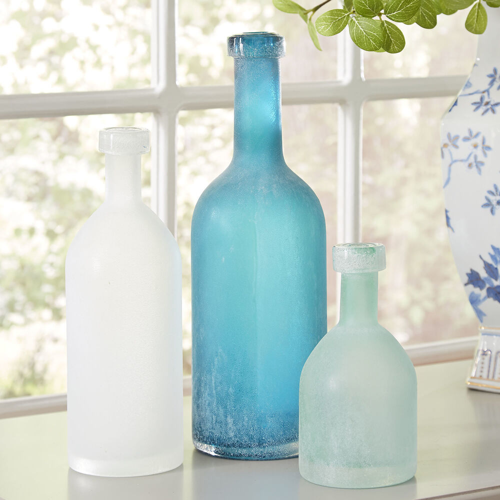 Best 3X Vintage Frosted Glass Decorative Bottle Set Ocean Blue This Month