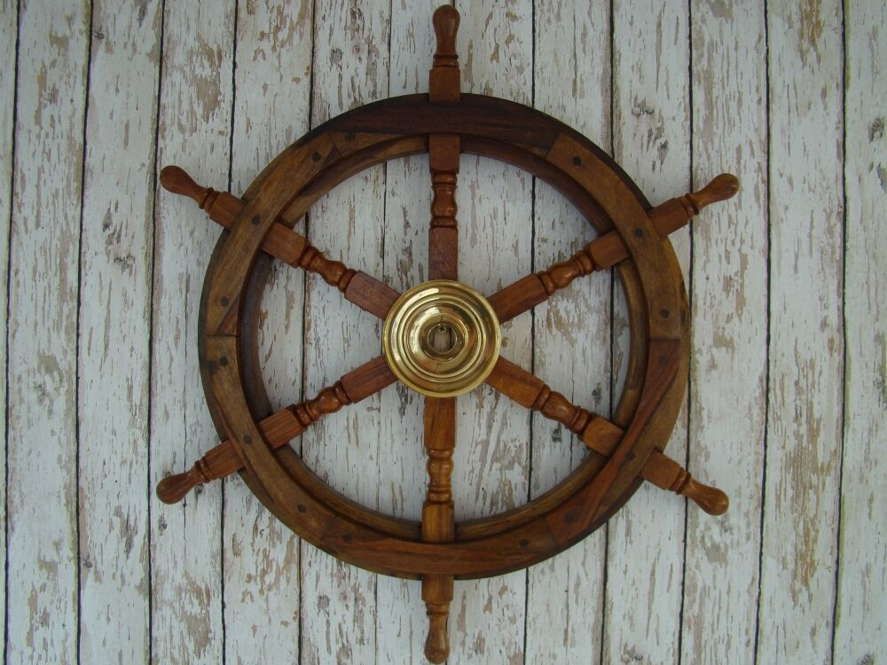 Best 24 Wood Brass Ship Wheel Nautical Maritime Pirate This Month