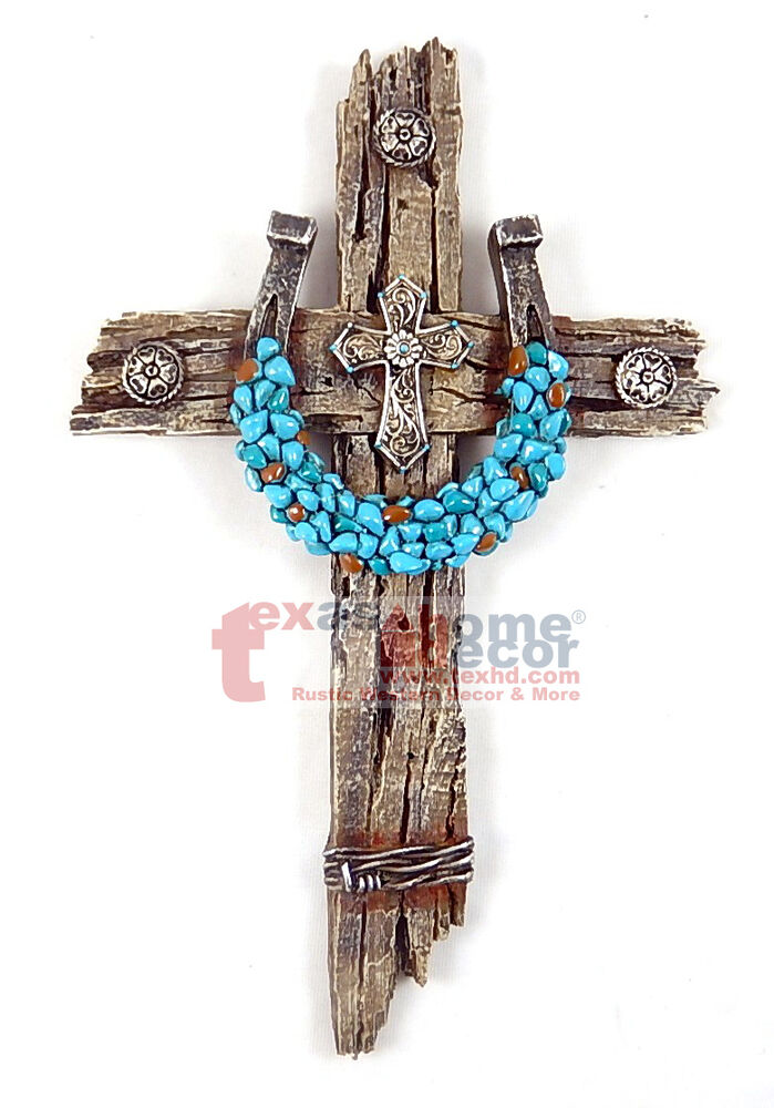 Best Turquoise Horseshoe Concho Decorative Wall Cross Faux Wood This Month