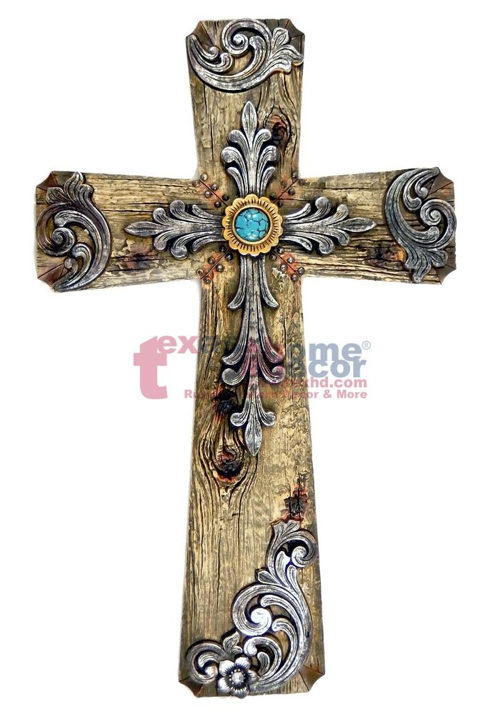 Best Turquoise Wall Cross Decorative Layered Wood Look Silver This Month