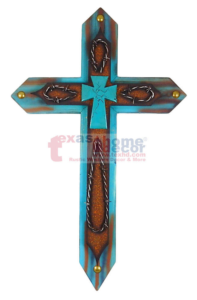 Best Wooden Turquoise Decorative Wall Cross Metal Layer Brass This Month