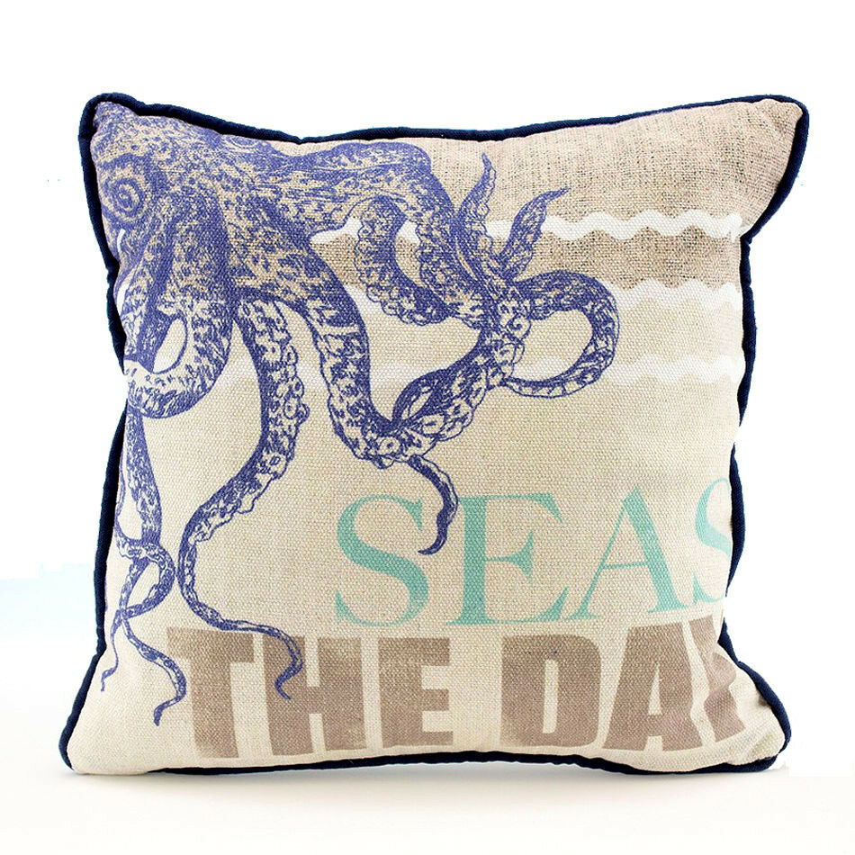 Best Octopus Seas The Day Decorative Sofa Throw Pillow Nautical This Month
