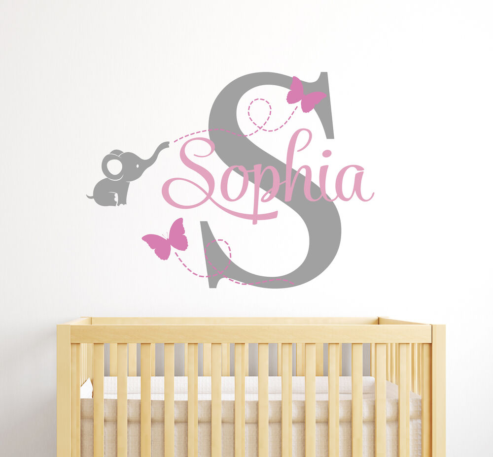 Best Custom Elephant Girl Name Wall Decal Baby Room Decor This Month