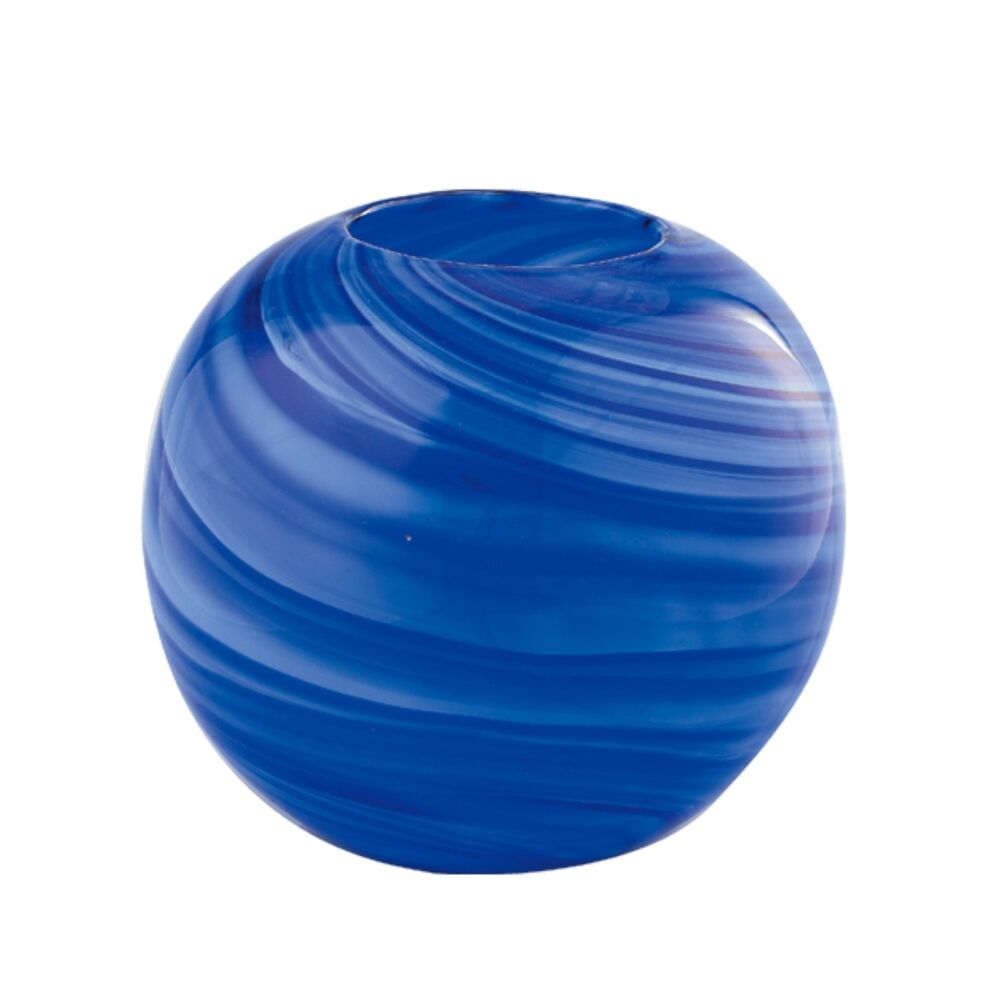 """Best New 8"""" Hand Blown Glass Art Vase Bowl Blue Striped This Month"""