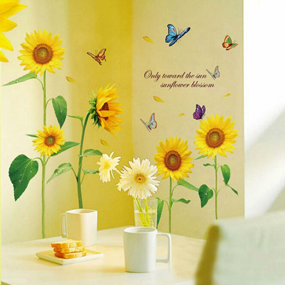 Best Beautiful Sunflower Butterfly Flying Vinyl Art Home Decor This Month
