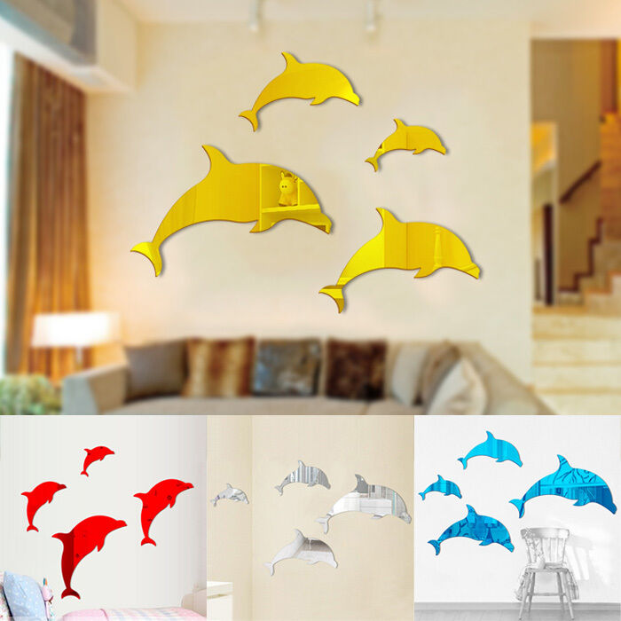 Best Cute 3D Dolphin Diy Mirror Wall Decals Stickers Art Home This Month