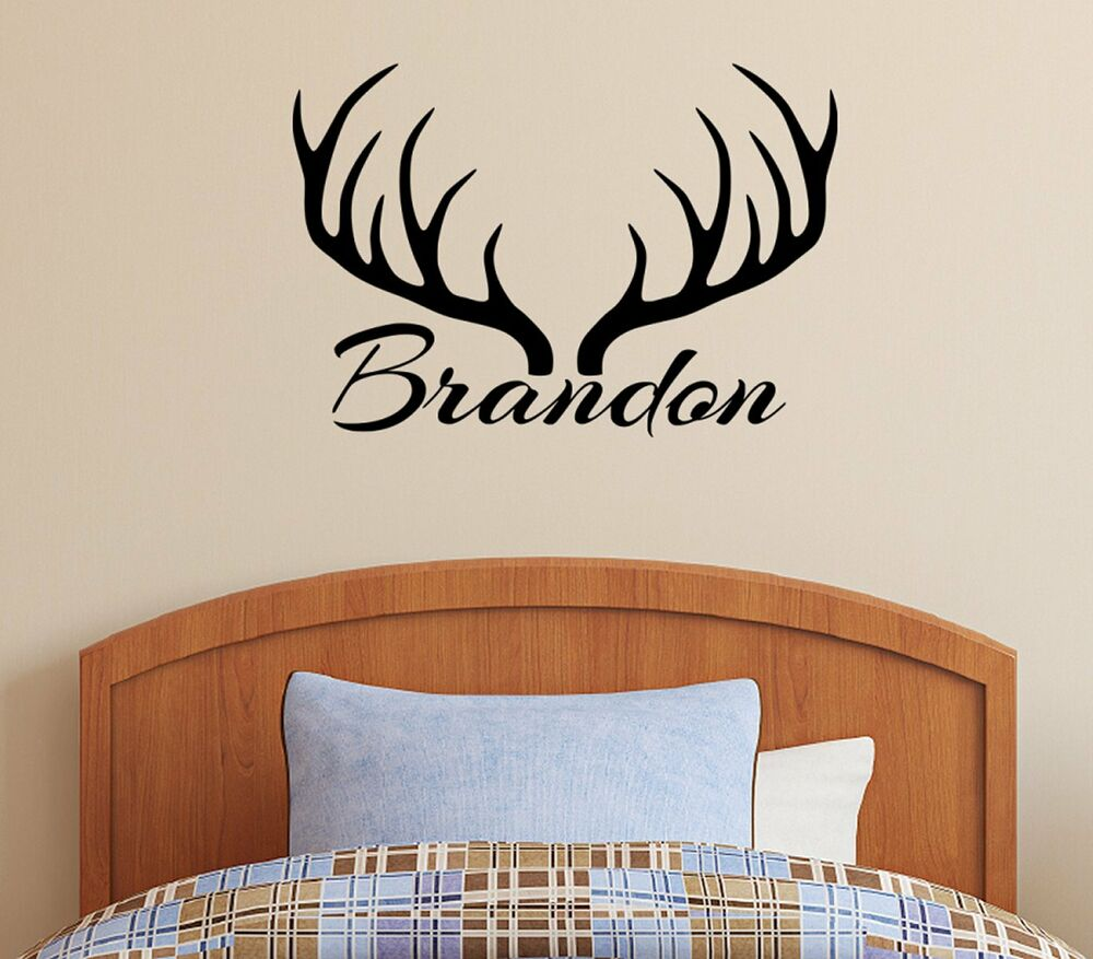 Best Personalized Name Deer Antlers Rack Vinyl Wall Decal This Month