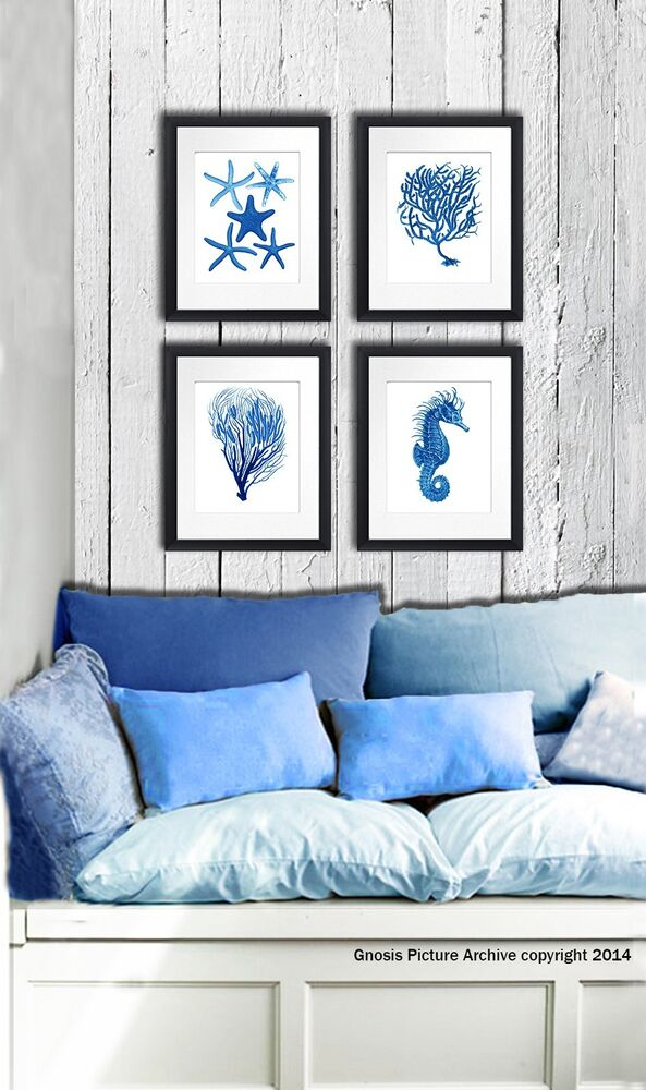 Best Wall Hanging Beach Decor Set Of 4 Blue Sea Coral Starfish This Month