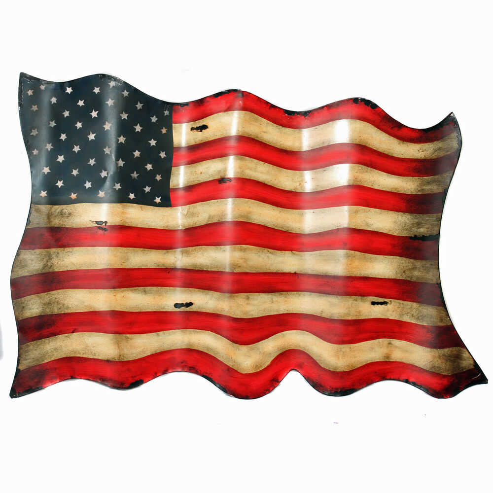 Best Antique Style American Flag Hanging Metal Wall Decor This Month