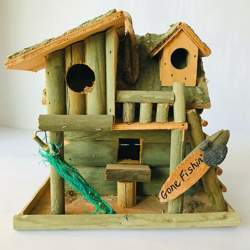 Best Fishing Cabin Decorative Bird House 8 X 8 X 7 Very Rustic This Month